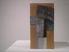 FIR PIECE, 5.25 x 5.25 x 10.5 - Fir, copper, wire mesh, encaustic
